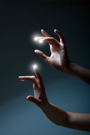 appear: fingers pressing a touchscreen and white spots appear