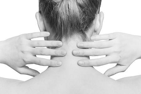 collo: closeup tiro di collo e alle spalle di una bella ragazza (immagine in bianco e nero) Archivio Fotografico