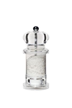 meuleuse: Moulin de sel perspex transparent �l�gant isol�e sur blanc  Banque d'images