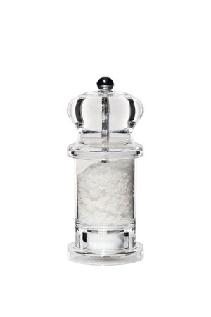 stylish transparent perspex salt mill isolated on white Stock Photo