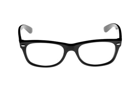 trendy black rimmed retro glasses isolated on white Stock Photo