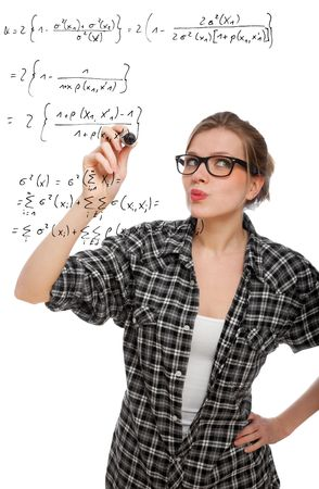 formulae: blonde student girl drawing a mathematical formula in the air, isolated on white