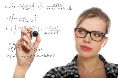 blonde student girl drawing a mathematical formula in the air, isolated on white Stock Photo - 6813796