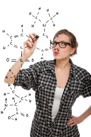 blonde student girl drawing a chemical formula in the air, isolated on white photo