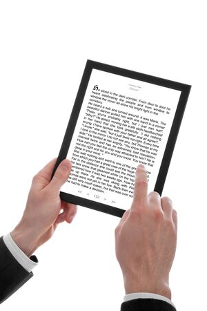 a male hand holding a touchpad pc showing an E-Book, isolated on white Stock Photo - 6875683