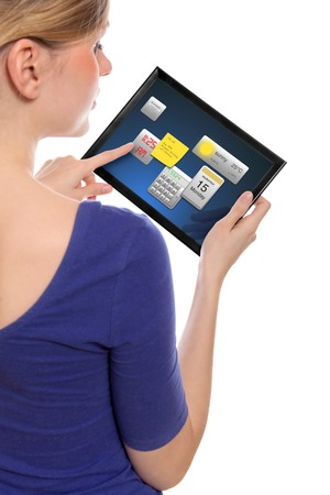 programmes: beautiful woman holding a touchpad pc, one finger touches the screen and uses little programmes, isolated on white