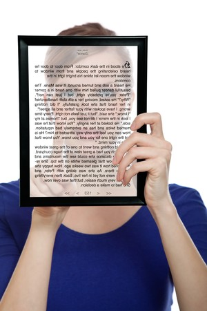 beautiful woman holding a touchpad pc showing an E-Book, isolated on white Stock Photo - 7231861