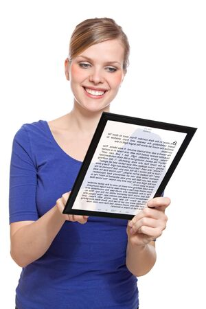 beautiful woman holding a touchpad pc showing an E-Book, isolated on white and focus on the eyes Stock Photo - 7231864