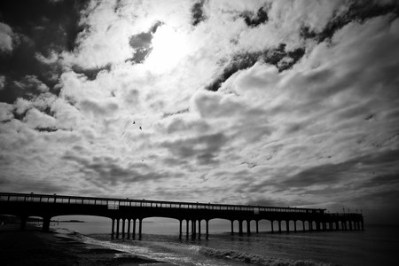 bournemouth: Black and white image of  the Pier in Boscombe, Dorset, England, Boscombe is a suburb of the much larger Bournemouth