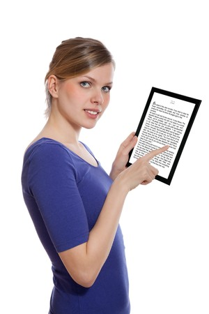 beautiful woman holding a touchpad pc showing an E-Book, isolated on white and focus on the eyes