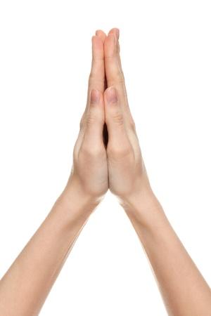 mujeres orando: orando a manos de una mujer, aislados en blanco