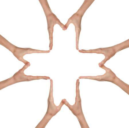 Hands forming a big medical cross symbol, isolated on white photo