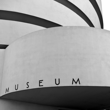 New York, Black and White Facade of the Guggenheim Museum, December 19, 2011