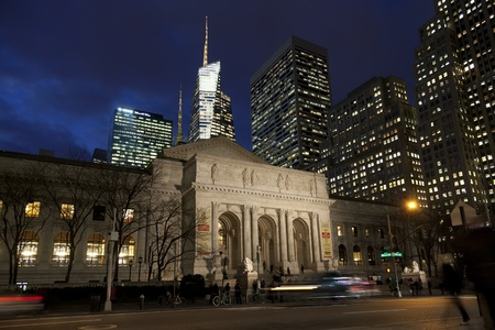 loaning: New York public library in the dusk, Manhattan, New york, America, United States of America