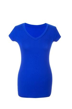 Blue Hollow Female T-Shirt, isolated on white background Stock Photo - 17696603