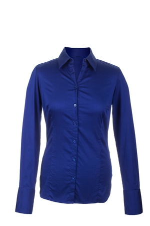 hollow: Hollow Female blue blouse with long sleeves, isolated on white background