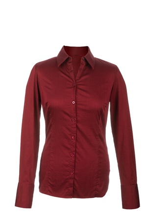 Hollow Female red blouse with long sleeves, isolated on white background Stock Photo - 17696610