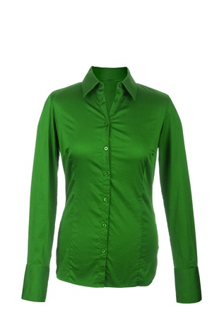 Hollow Female green blouse with long sleeves, isolated on white background Stock Photo - 17995271