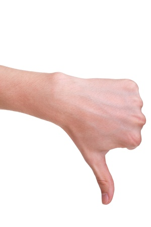 disagree: adult man hand thumb down, isolated on white background Stock Photo