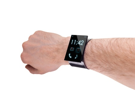 arm with a modern Internet Smartwatch, isolated on white  --  All Texts, Icons, Computer Interfaces where created from scratch by myself.