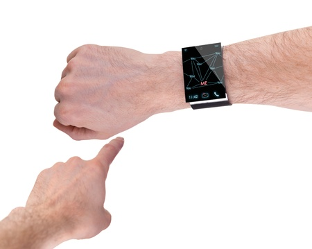 arm with a modern Internet Smartwatch, isolated on white  --  All Texts, Icons, Computer Interfaces where created from scratch by myself. photo