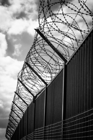 barbed wire frame: Barbed wire on dark fence  Monochrome