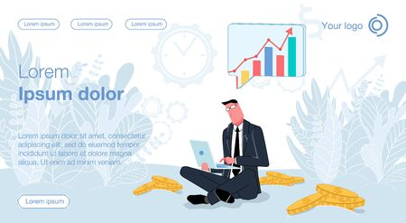 A man in a business suit sits in a pile of coins, holds a laptop in his hands and studies the growing infographic. Vector illustration of internet earnings and online income
