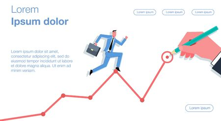 A businessman in a blue suit runs on a drawn schedule. A huge hand draws a graph in pencil. Business vector concept illustration. Illustration