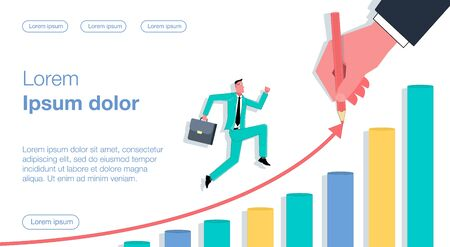 Businessman with a portfolio runs up the schedule. Huge hand draws a graph. Business vector concept illustration.