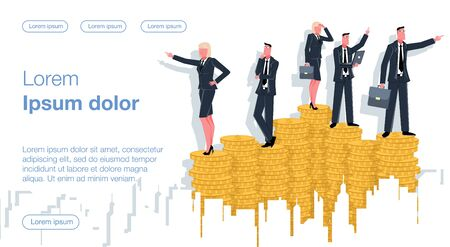 Businessmen and businesswomen stand on coins and decide in which direction to move their business. Business Vector Concept Illustrator