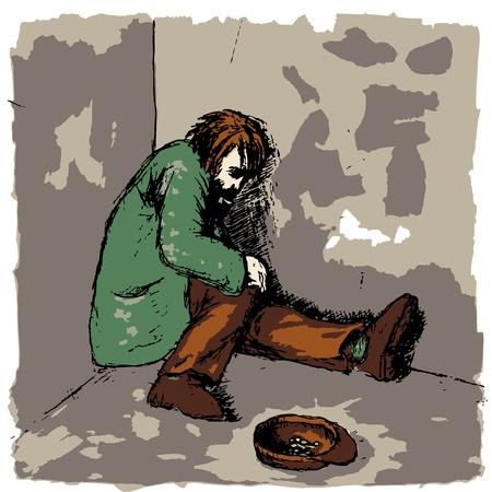 homelessness: Senzatetto Vettoriali