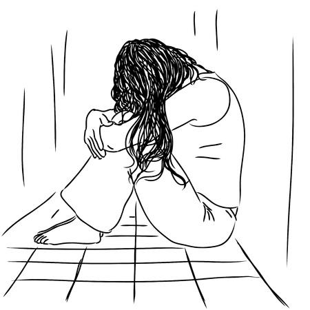 Sad vrouw Vector Illustratie