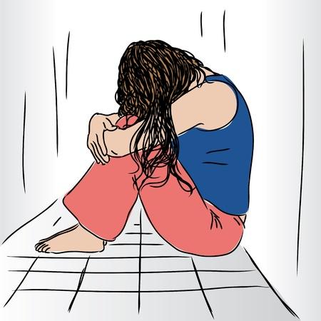печальный: Грустная женщина Иллюстрация