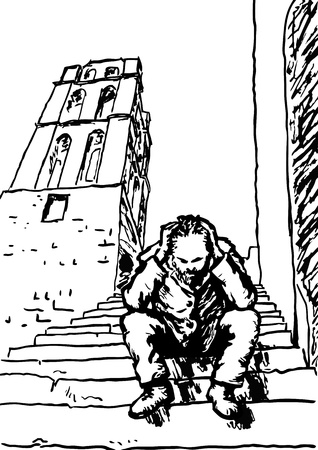 alone and sad: Sin hogar Vectores