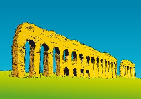 roman empire: Appius Claudius aqueduct Illustration
