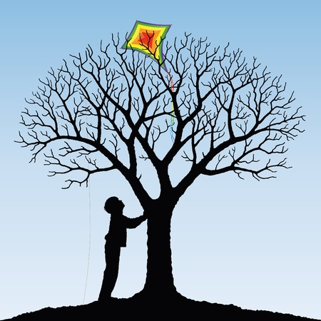 come up to: child and  kite Illustration