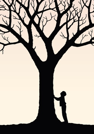 conquer adversity: child and  tree