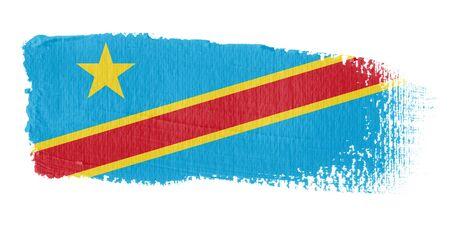 democratic: Brushstroke Flag Democratic Republic of the Congo Stock Photo