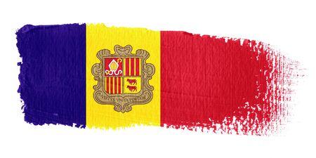 andorra: Brushstroke Flag Andorra Stock Photo