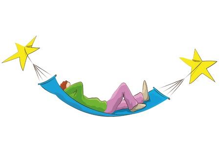 suspend: hammock and  stars Illustration