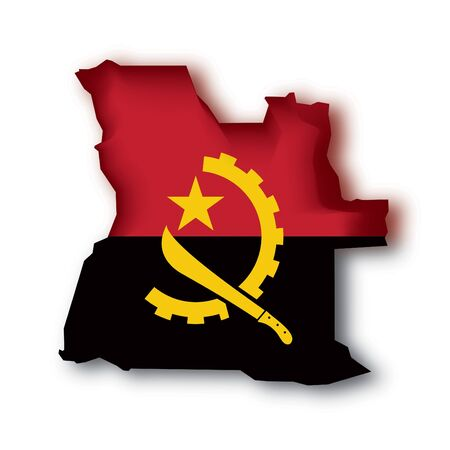 angola: map and the flag of Angola