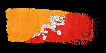 bhutan: Brushstroke Flag Bhutan