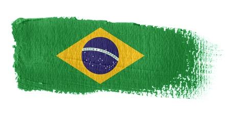 banderas america: Bandera de pincelada Brasil Foto de archivo