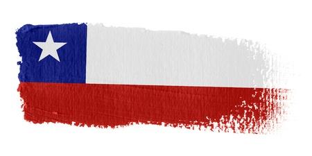 chilean flag: Bandera de pincelada Chile Foto de archivo