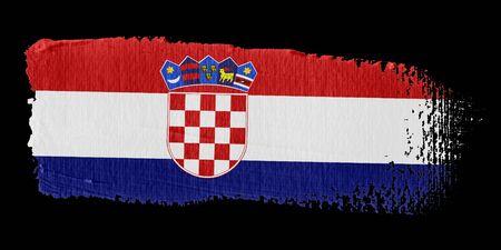 bandera de croacia: Pincelada Bandera Croacia Foto de archivo