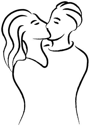 siluetas de enamorados: Beso