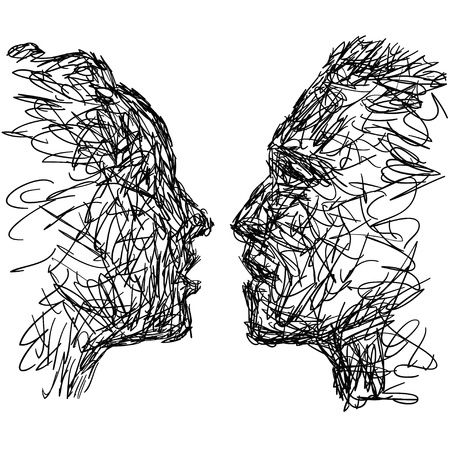man face profile: Couple Illustration