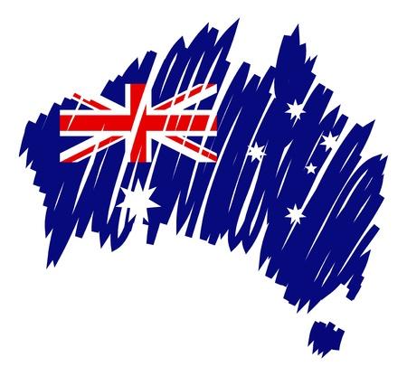 Австралия: Карта флагом Австралии Иллюстрация