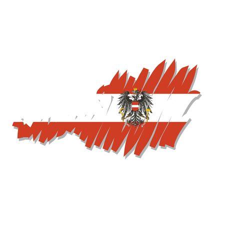 austrian flag: map flag Austria Illustration