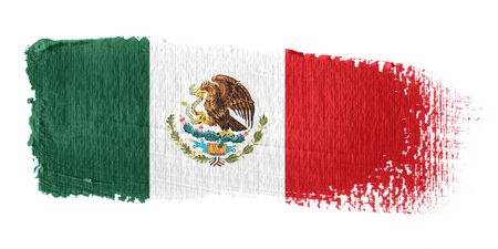 bandera de mexico: Bandera de pincelada México Foto de archivo